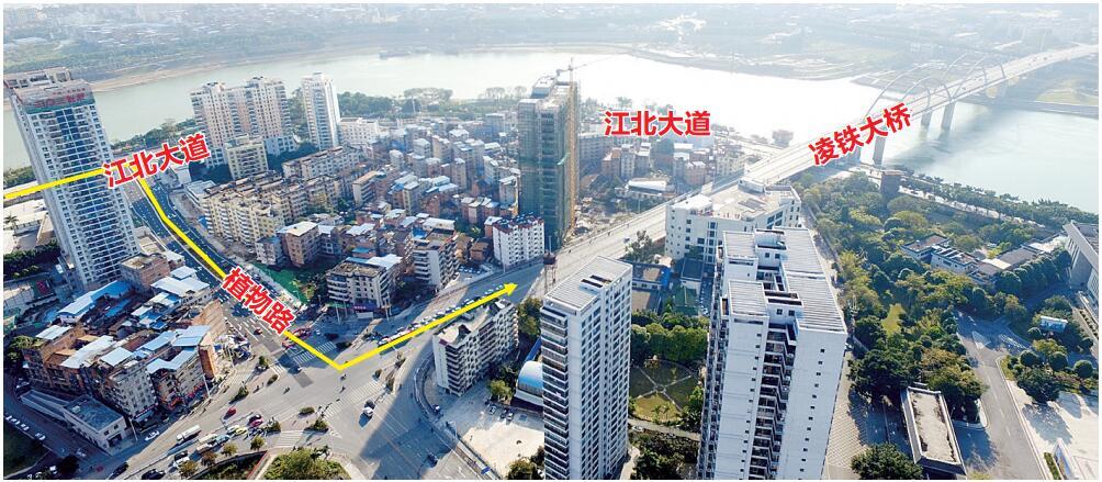 南宁植物路打通 驾车可从江北大道直接拐凌铁大桥