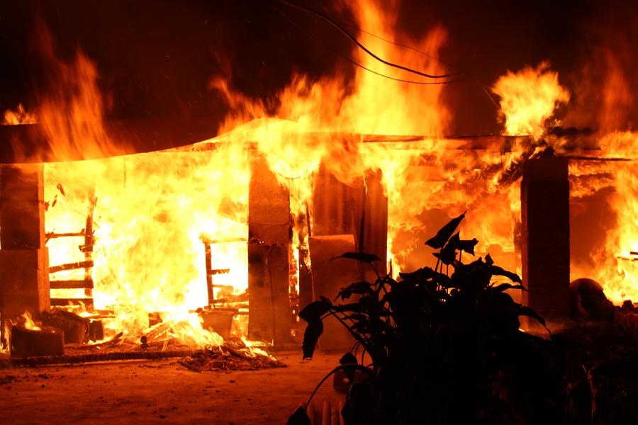 居民楼顶烘烤腊肉引发火灾 80多只鸡侥幸逃生(图)