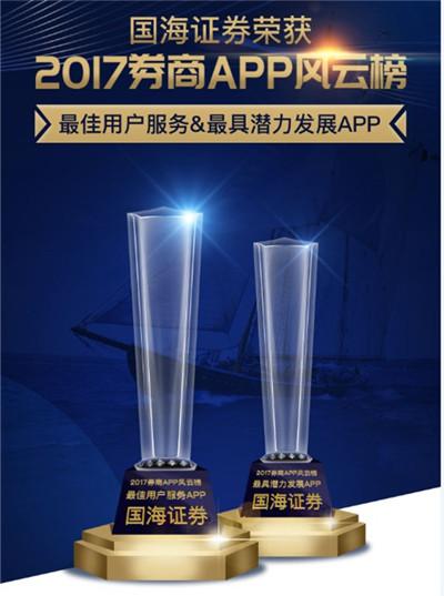 国海证券荣获2017券商APP风云榜两项大奖