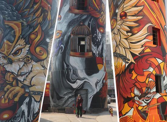 老建筑赋予新灵魂 33米超高水塔涂鸦现南宁(组图)