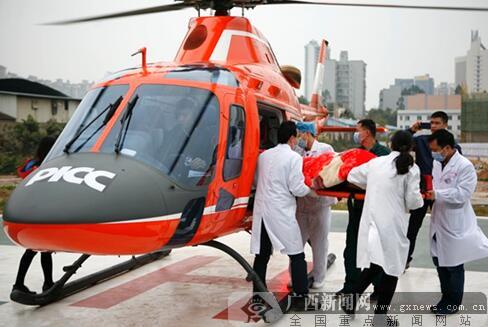 人保直升机赴山区救援 40分钟送车祸伤者到南宁