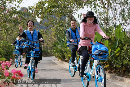 玉林市五彩田园迎来首批共享单车