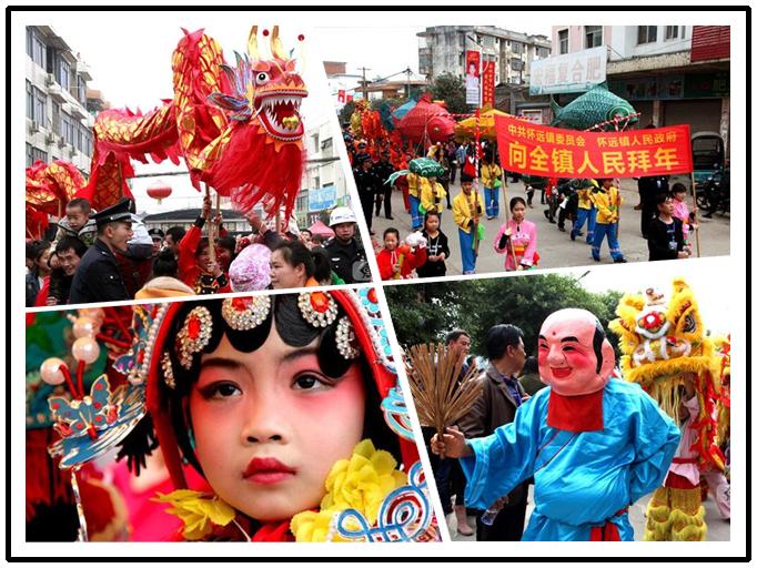 高清:宜州怀远镇春节民俗巡游活动为群众送祝福