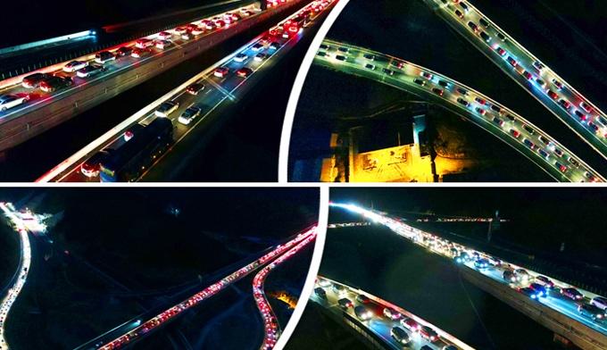 航拍:桂三高速迎返程高峰