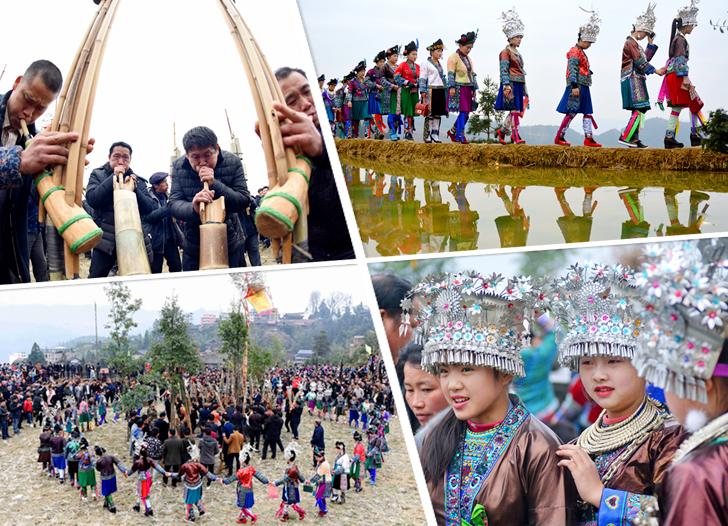 三江举行传统坡会 苗族青年身着盛装出席(组图)