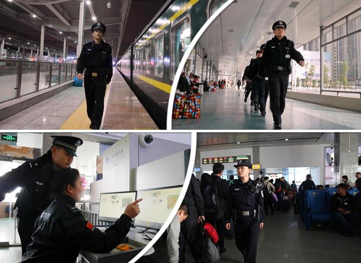 """春运故事:元宵节""""90后""""铁路民警执勤在路上(图)"""