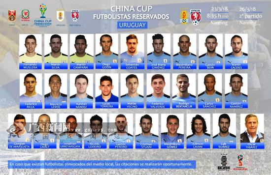 """乌拉圭正式公布""""中国杯""""参赛名单:苏亚雷斯等入选"""
