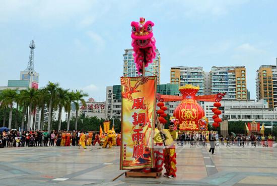 龙狮竞舞 梧州市举办2018龙狮闹元宵大型展示活动