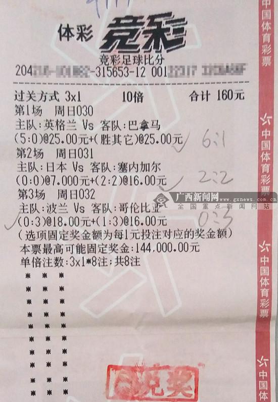 猜中3场世界杯冷门 玉林一彩民获竞彩奖金14万元