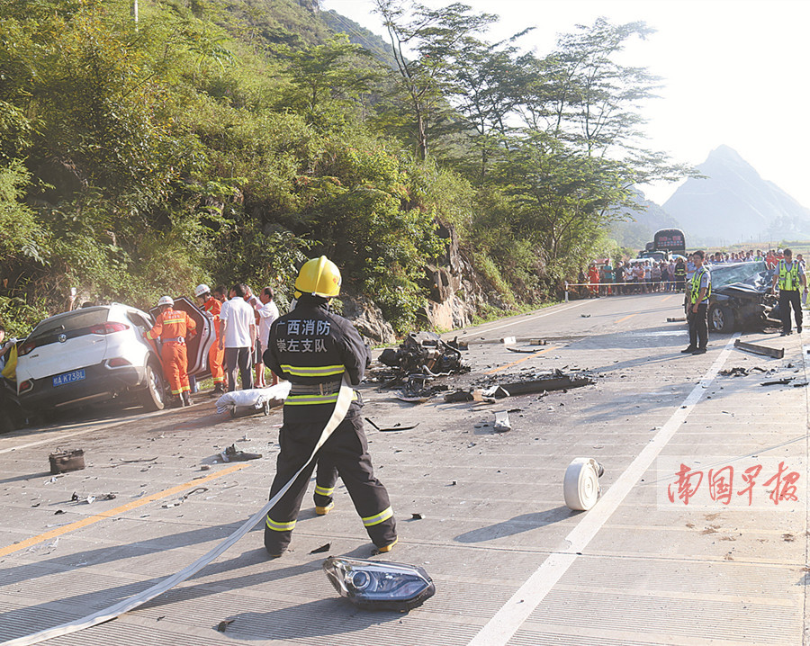 天等:两车发生碰撞 一名驾驶员不幸当场身亡(图)