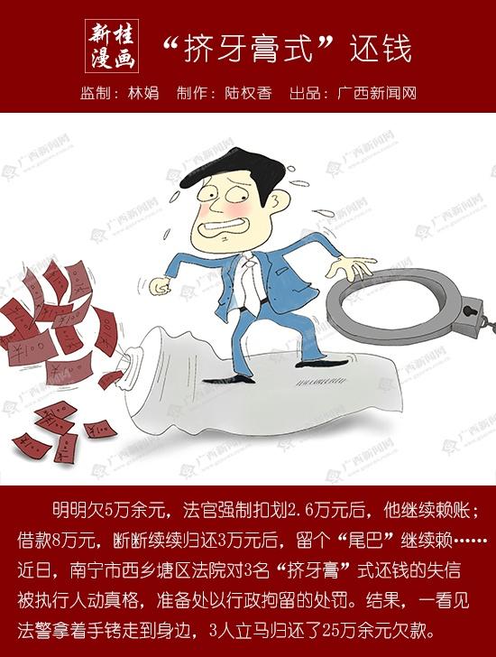 """【新桂漫画】""""挤牙膏式""""还钱"""
