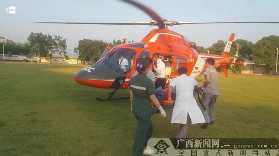 武宣胃癌患者病发 直升机紧急救援为生命赢时间