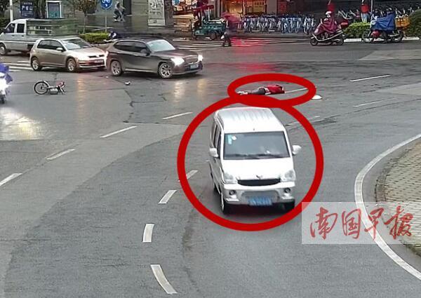 钦州一面包车撞倒他人还再次碾压 司机逃逸后被抓