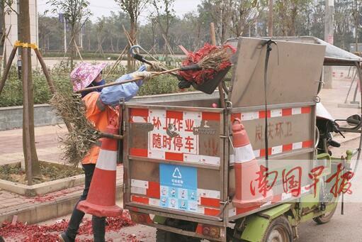 南宁:禁放区烟花爆竹垃圾骤减(图)