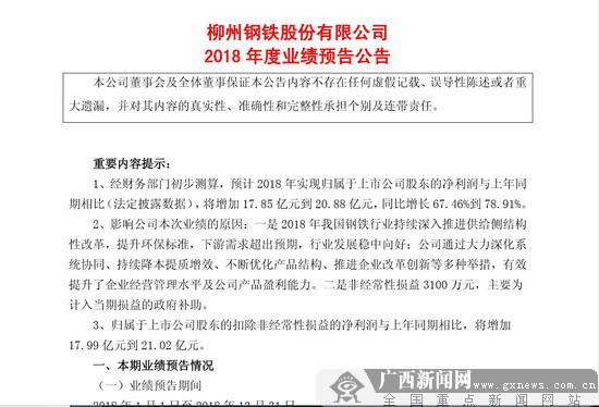 广西2018年上市公司业绩盘点:柳钢盈利高达44亿