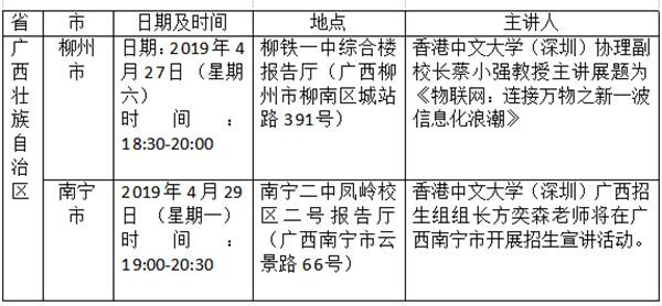 香港中文大学(深圳)2019年广西招生宣讲即将开始
