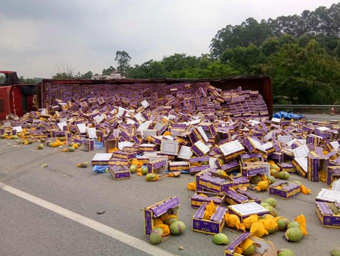 货车侧翻 三千余箱哈密瓜散落一地