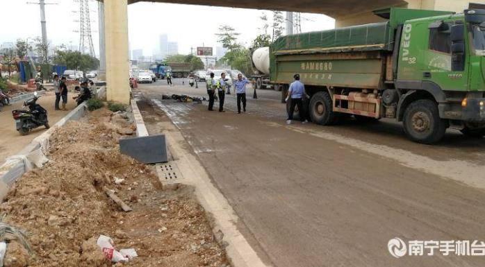 突发!南宁一大货车与电动自行车相撞,致1人死亡