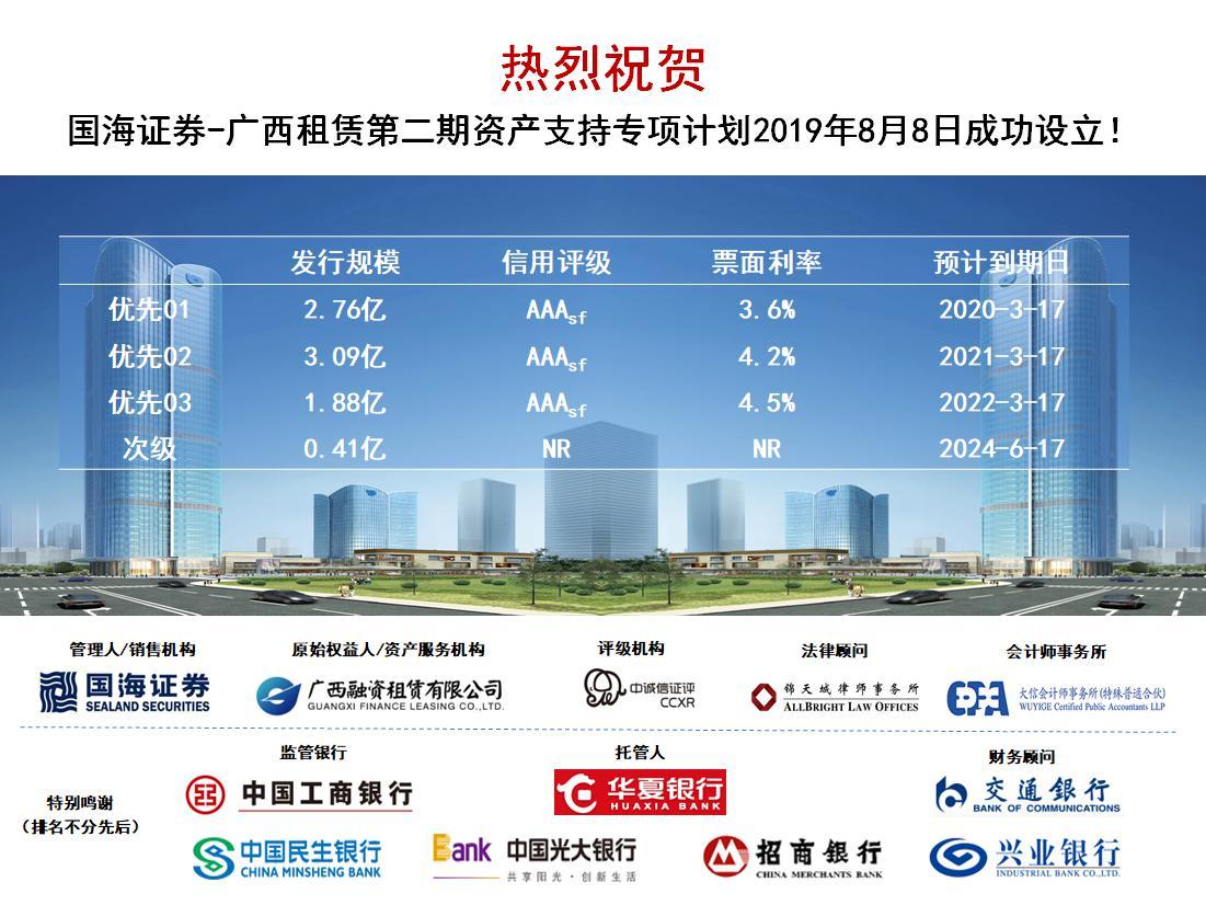 广西租赁第二期ABS成功设立 票面利率创广西同类最低