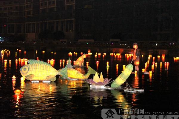 万盏河灯祈福中华 资源河灯歌节吸引八方游客(图)