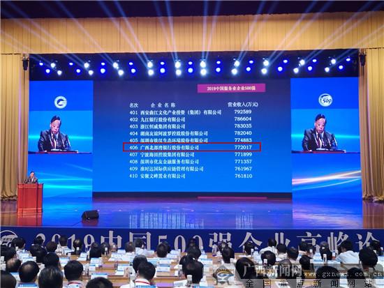 北部湾银行连续8年荣登中国服务业企业500强榜单