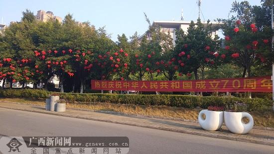 荷城:红旗飘飘欢度国庆