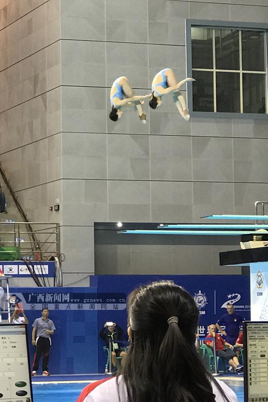 广西健儿韦颖黄小惠军运会女子双人3米板跳水夺金