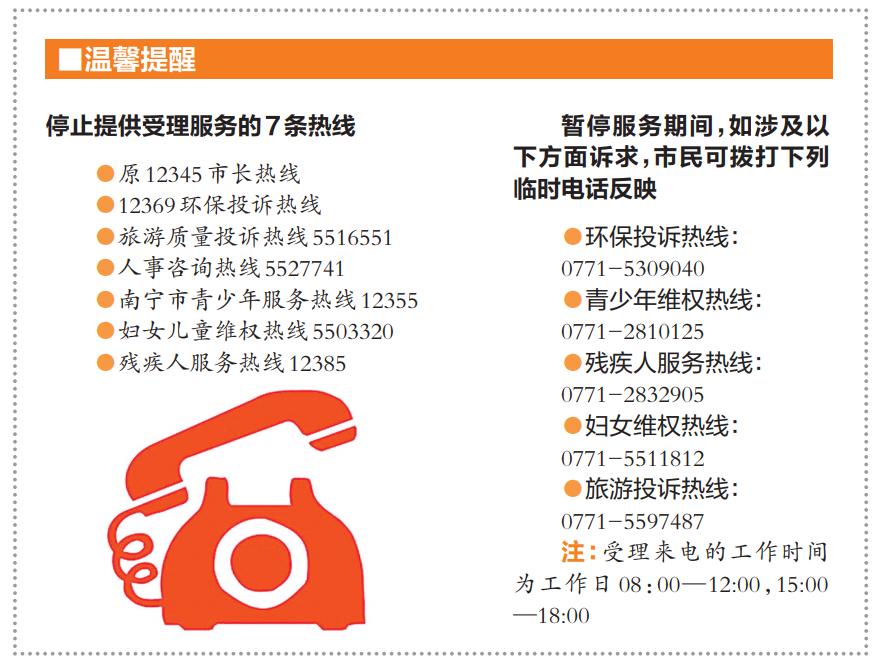 南宁12345政府服务热线8日启用 7条热线停止服务