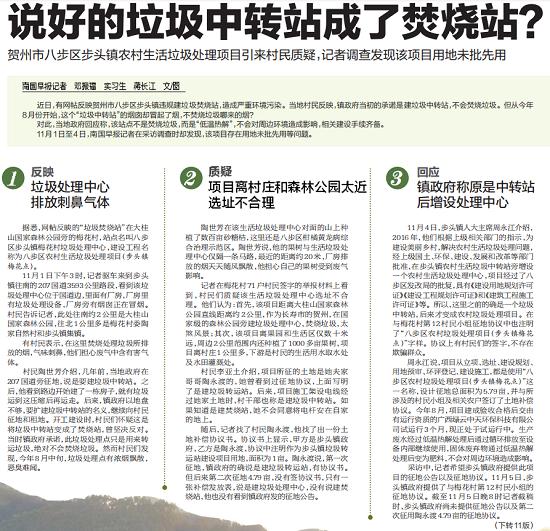 问政帖持续发酵 媒体调查称垃圾处理项目用地未批先用被罚款