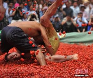 百色壮族民众番茄池里举行摔跤比赛(组图)