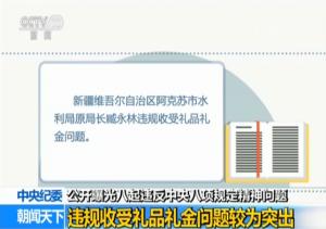 中纪委曝光八起违反八项规定问题 违规收礼问题突出