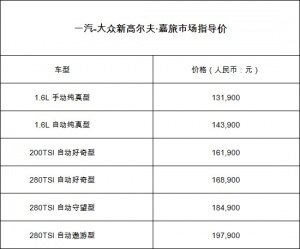 售价13.19-19.79万元 新高尔夫·嘉旅正式上市
