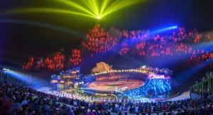 12月17日焦點圖:大型壯族神話實景劇《花山》試演
