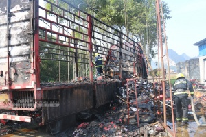 河池一满载货物货车突然起火 一车货物被烧毁(图)