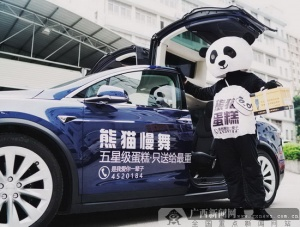 新晋网红熊猫慢舞蛋糕进驻南宁 当街派发红包