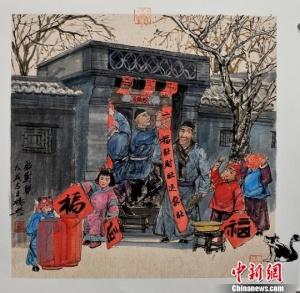 """京味儿画家杨信用95幅年俗画绘出""""年味儿"""""""