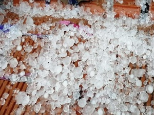 """高清:来宾出现冰雹天气 敲响""""雨水""""时节"""