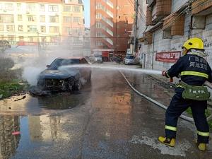 罗城一小轿车路边自燃 消防及时处置扑灭火情