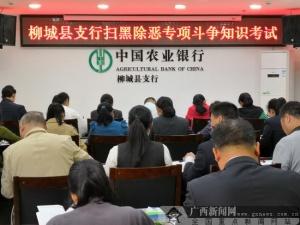 农行柳城支行组织扫黑除恶专项斗争知识考试