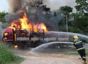 防城港:高壓線旁貨車著火 消防緊急撲救