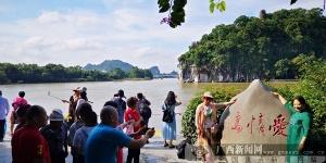 漓江洪水下降 桂林市象鼻山景區又恢復往日魅力