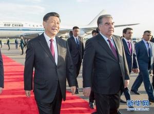 習近平抵達杜尚別開始出席亞洲相互協作與信任措施會議第五次峰會并對塔吉克斯坦共和國進行國事訪問