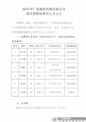 廣西新桂傳媒有限公司項目招聘擬聘用人員公示
