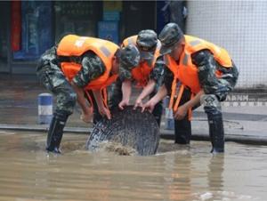 柳州暴雨致多�受�� 武警官兵�o急�M行道路清淤