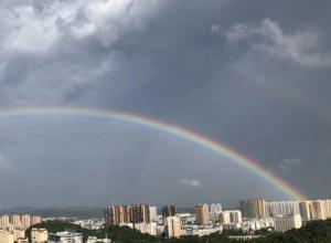高清组图:百色平果雨后现双彩虹