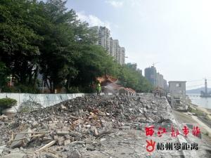 梧州:河西防洪堤商铺主体部分开始拆除