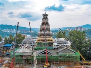10月27日焦点图:21层!广西侗乡第一高鼓楼现雏形