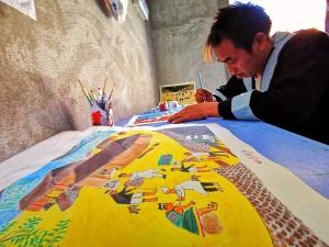 南丹:村民自学农民画 作品充满浓郁民族风情(图)