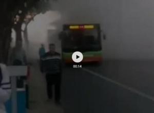 突发!一公交车在邕江边突冒浓烟,乘客紧急疏散