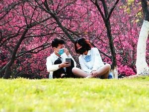 焦点图:春色美景依旧,市民请戴好口罩再游园